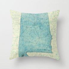 Alabama State Map Blue V… Throw Pillow