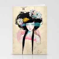 portrait Stationery Cards featuring Nenufar Girl by Ariana Perez