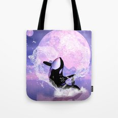 Orca jumping by a heart  Tote Bag