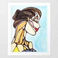 Woman in Blue Art Print
