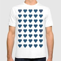 64 Hearts Navy Mens Fitted Tee White SMALL