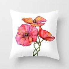 Peach & Pink Poppy Tangle Throw Pillow