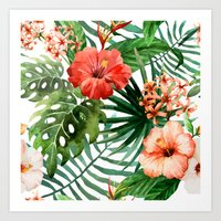 Hibiscus And Palm Leaf P… Art Print
