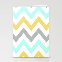 BLUE/GRAY/YELLOW CHEVRON Stationery Cards