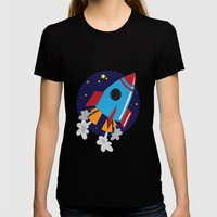Space Cruiser Womens Fitted Tee Black SMALL