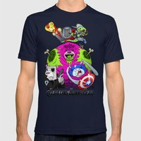 Floating BunnyHead + Avengers Mens Fitted Tee Navy SMALL