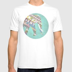 Mosaic Elephant White SMALL Mens Fitted Tee