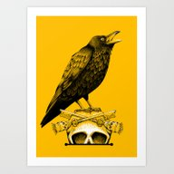 Art Print featuring Black Crow, Skull And Cr… by Dark Iris Design