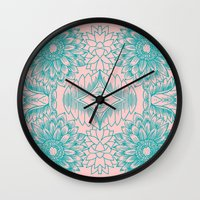 Sunflower Illustration -… Wall Clock