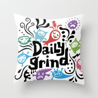 Daily Grind - White Throw Pillow