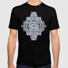 Floral Diamond Doodle in Dark Blue and Cream Black Mens Fitted Tee SMALL