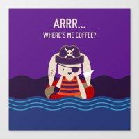 Pirate Bunny Needs Coffee Canvas Print