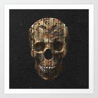 Vintage American Tattoo Skull Wood Stripes Texture Art Print