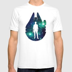 Han Solo and Cosmic Millennium Falcon Mens Fitted Tee White SMALL