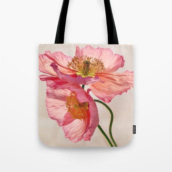 Like Light through Silk - peach / pink translucent poppy floral Tote Bag