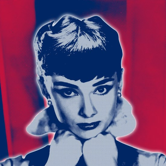 Audrey in US flag colors Art Print
