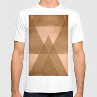 Distressed Triangles Mens Fitted Tee White SMALL