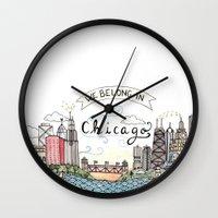 We Belong In Chicago Wall Clock