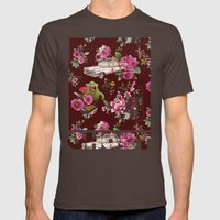 Ecto Floral Mens Fitted Tee Brown SMALL