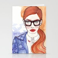 Redhead With Glasses Stationery Cards