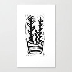Plant in the pot linocut print Canvas Print