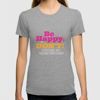 Be Happy Womens Fitted Tee Tri-Grey SMALL