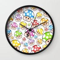 Iddy Diddy Mushrooms  Wall Clock