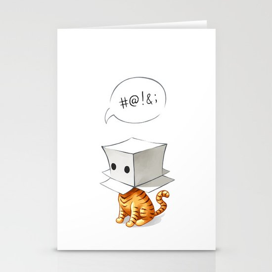 Cat in the Box 2 Stationery Card