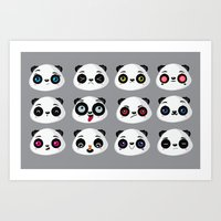 Panda faces Art Print