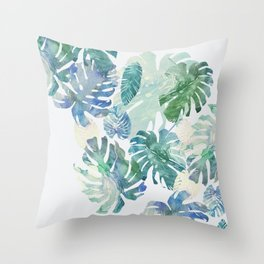 Throw Pillow - tropical cold leaves - franciscomffonseca