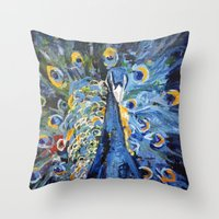 Blue Peacock  Throw Pillow