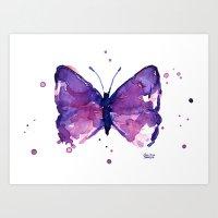 Butterfly Purple Watercolor Art Print