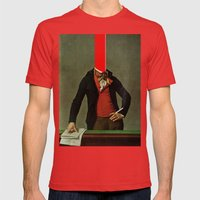 The red stripe in the head and the cigarette in the hand Mens Fitted Tee Red SMALL