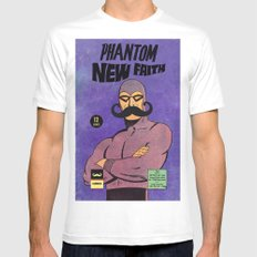 phantom moustache White SMALL Mens Fitted Tee