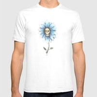 Skull Daisy Mens Fitted Tee White SMALL