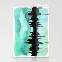 Mint Green London Skyline 2 Stationery Cards