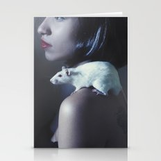 Girl and a rat Stationery Cards