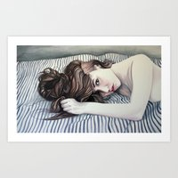 Striped Sheets Art Print