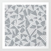 Abstract Lines B Grey Art Print