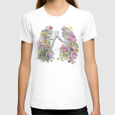 Floral Anatomy Lungs Womens Fitted Tee White SMALL