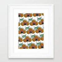 70s inspired pattern Framed Art Print