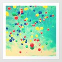Let your wishes fly (Colour balloons in vintage - retro turquoise sky) Art Print