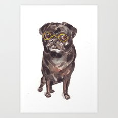 Black Pug/ Mix with Glasses Art Print
