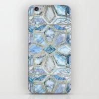 Geometric Gilded Stone Tiles in Soft Blues iPhone & iPod Skin