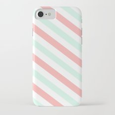 Mint and Coral Diagonal Stripes iPhone 7 Slim Case