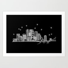 Minneapolis, Minnesota City Skyline  Art Print