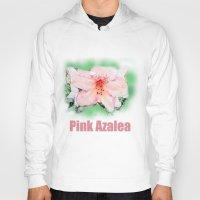 Pink rhododendron, azalea flower photo art. color pencil sketch style. Hoody