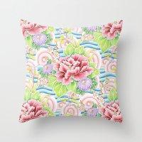 Pastel Kimono Bouquet Throw Pillow