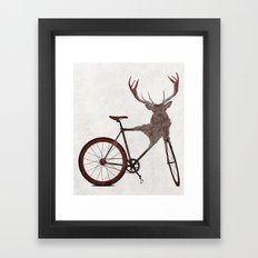 Stag Bike Framed Art Print