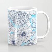 Floral Doodle in Blue Mug